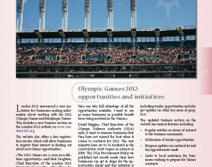 Olympic Games 2012: opportunities and initiatives
