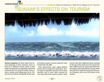 Tsunami's Effects on Tourism