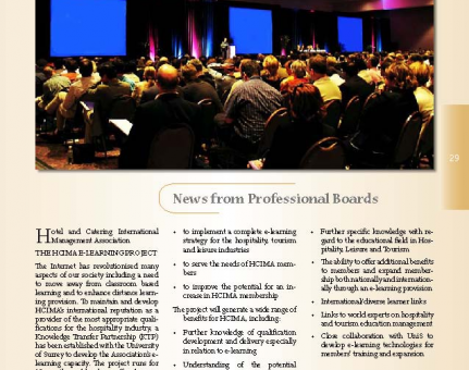 News from Professional Boards:Hotel and Catering International Management Association