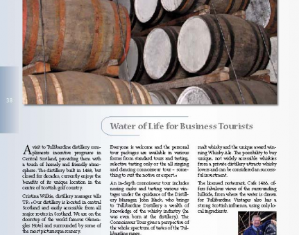 Water of Life for Business Tourists