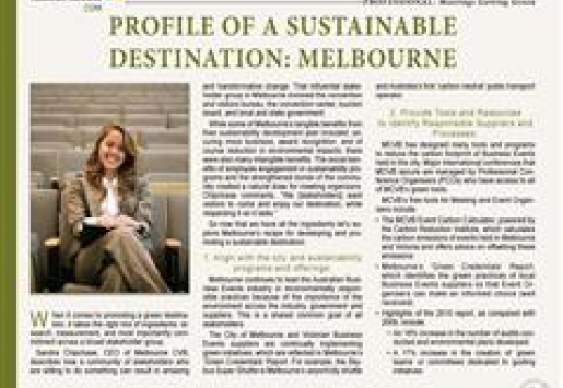 Profile of a Sustainable Destination: Melbourne