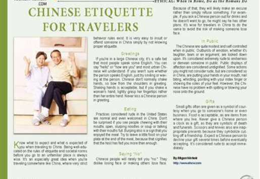Chinese Etiquette for Travelers
