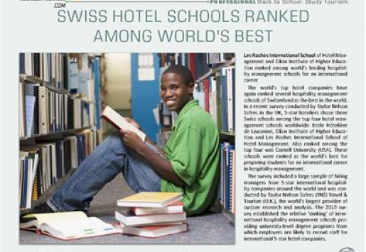 Swiss Hotel Schools Ranked Among World's Best