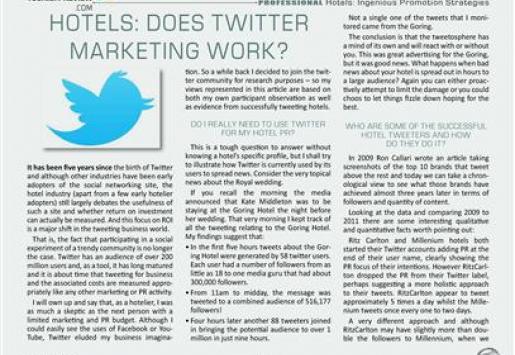 Hotels: Does Twitter Marketing Work?